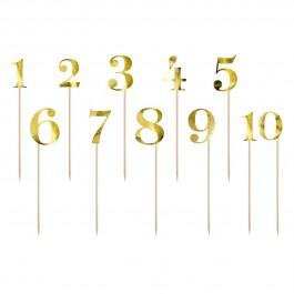 PartyDeco Topper Nummern Gold 11tlg.
