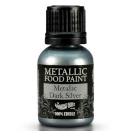 Rainbow Dust Metallic Food Paint Dark Silver 25ml