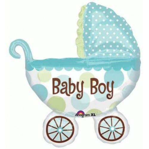 Ballon XXL KInderwagen Baby Boy inkl. Helium