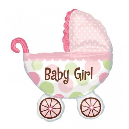 Ballon XXL KInderwagen Baby Girl inkl. Helium