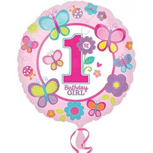 Ballon Girl 1st Birthday Rosa Schmetterlig inkl. Helium