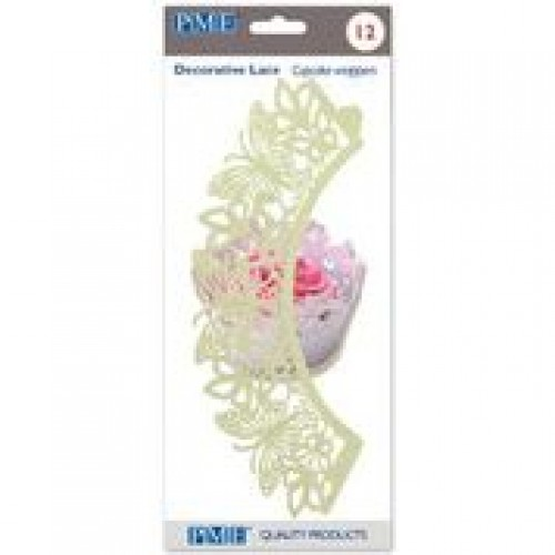 PME Cupcake Wrappers Schmetterlinge Ivory 12 Stück