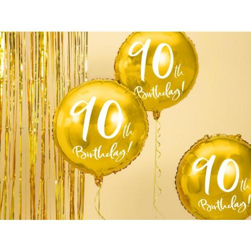 Ballon 90th Birthday Gold inkl. Helium
