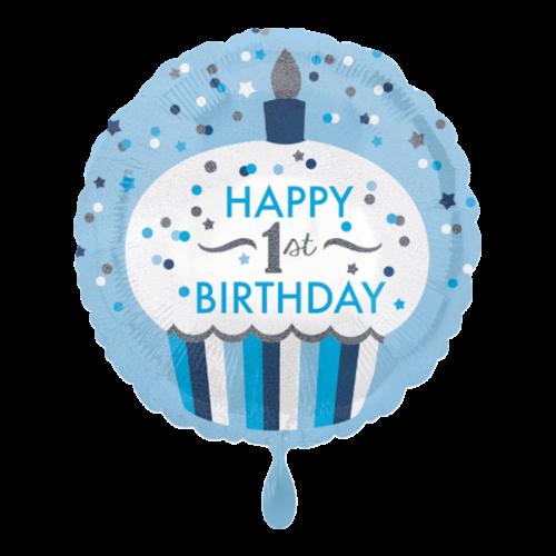 Ballon 1st Birthday Cupcake Boy inkl. Helium