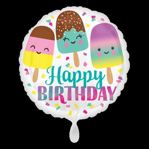 Ballon Happy Birthday Happy Ice Cream inkl. Helium