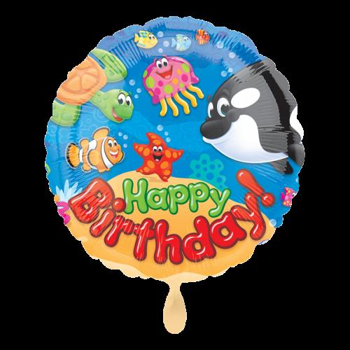 Ballon Happy Birthday Trend Sea Buddies inkl. Helium