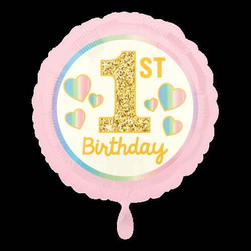 Ballon Girl 1st Birthday Pink & Gold inkl. Helium
