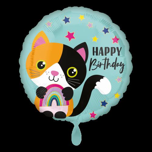 Ballon Happy Birthday Calico Cat inkl. Helium