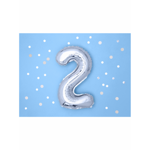 Ballon XS Zahl 2 - Silber