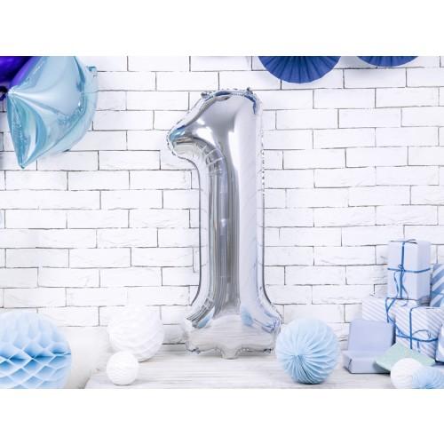 Ballon XXL Zahl 1 - Silber inkl. Helium