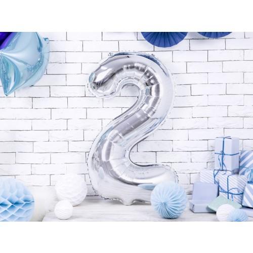 Ballon XXL Zahl 2 - Silber inkl. Helium