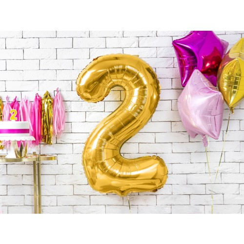 Ballon XXL Zahl 2 - Gold inkl. Helium