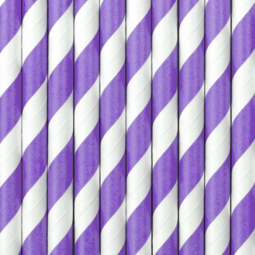 Papierstrohhalme Streifen - Lila