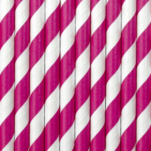 Papierstrohhalme Streifen - Pink
