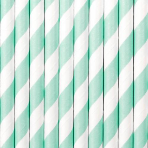 Papierstrohhalme Streifen - Türkis