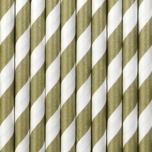 Papierstrohhalme Streifen - Gold matt