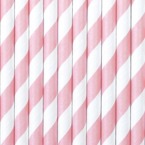 Papierstrohhalme Streifen - Rosa