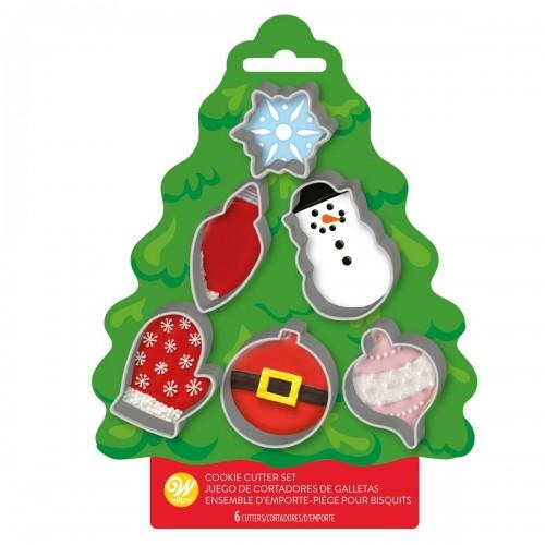 Wilton Ausstecher-Set mini aus Metall Weihnachten 6-teilig
