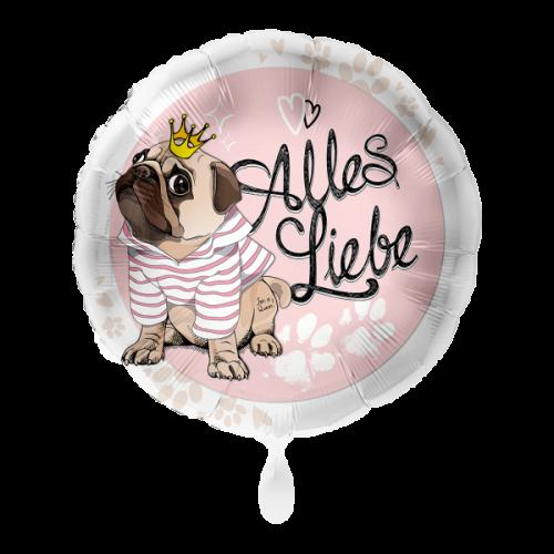 Ballon Mops Alles Liebe inkl. Helium