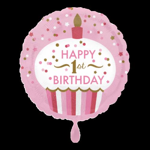 Ballon 1st Birthday Cupcake Girl inkl. Helium