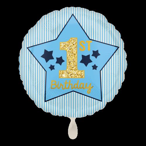 Ballon Boy 1st Birthday Blue & Gold inkl. Helium