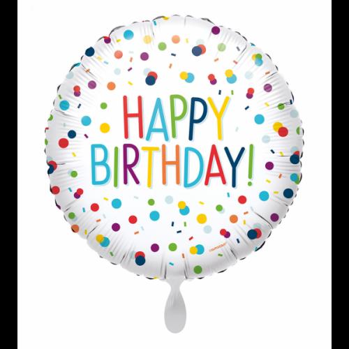 Ballon Happy Birtday Confetti inkl. Helium