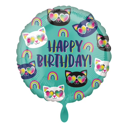Ballon Happy Birthday Cool Kitty Rainbow inkl. Helium