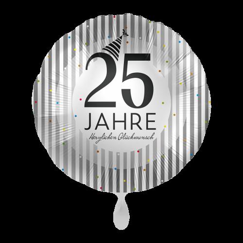 Ballon 25 Jahre Silver Stripes inkl. Helium