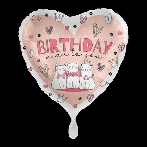 Ballon Happy Birtday Katzen inkl. Helium