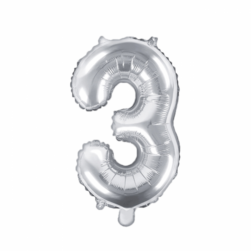 Ballon XS Zahl 3 - Silber