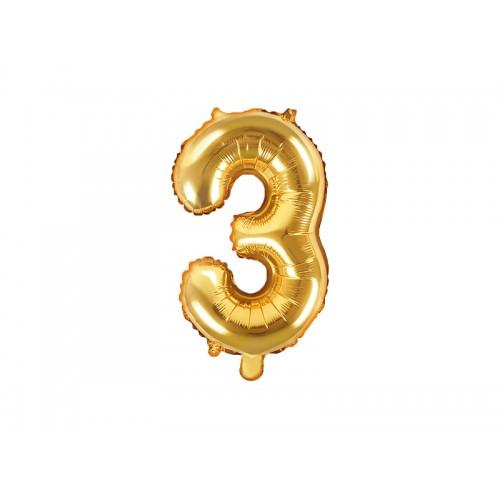 Ballon XS Zahl 3 - Gold