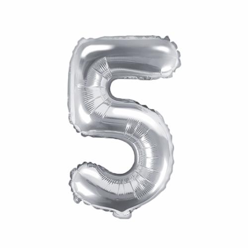 Ballon XS Zahl 5 - Silber