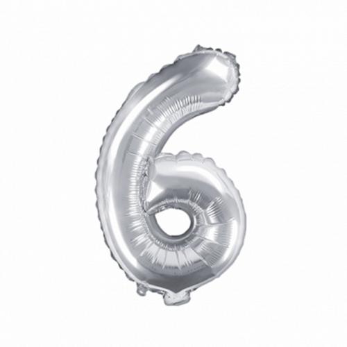 Ballon XS Zahl 6 - Silber