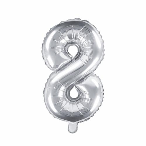 Ballon XS Zahl 8 - Silber