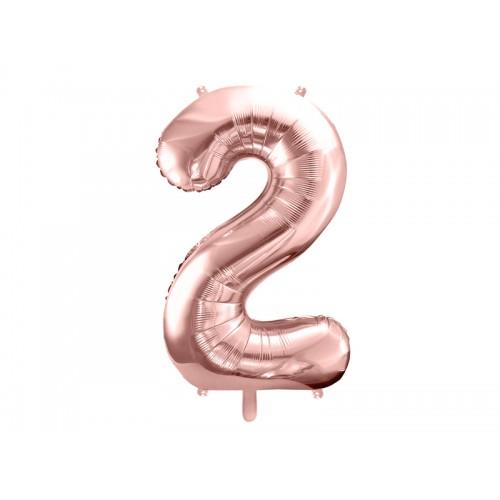 Ballon XXL Zahl 2 - Rosegold inkl. Helium