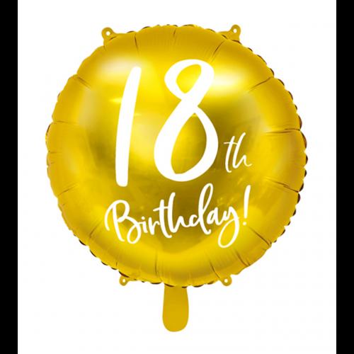 Ballon 18th Birthday Gold inkl. Helium