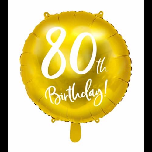 Ballon 80th Birthday Gold inkl. Helium