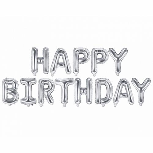 Ballon - Schriftzug Happy Birthday silber