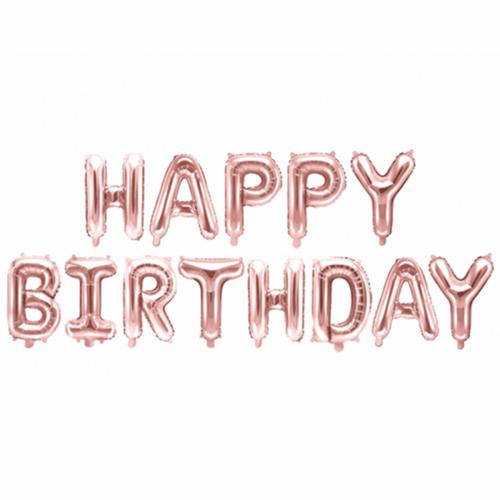 Ballon - Schriftzug Happy Birthday rosegold