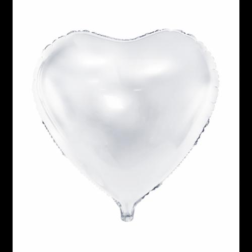 Folienballon Herz 61cm Weiß inkl. Helium