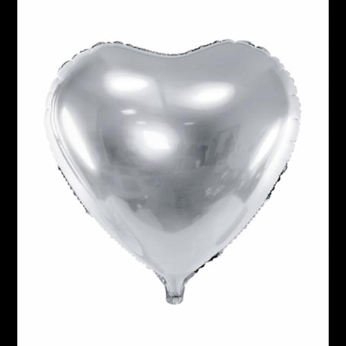 Folienballon Herz 61cm Silber inkl. Helium