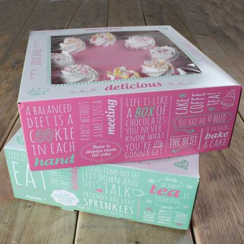 FunCakes Cake Box 2er Set - Quotes- 21x21x9cm