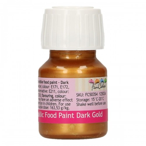 FunCakes FunColours Metallic Food Paint Dark Gold 30ml
