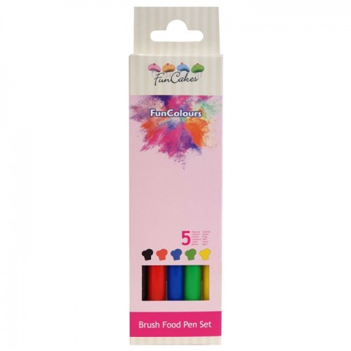 FunCakes Edible FunColours Brush Food Pen - Primary Set/5tlg.