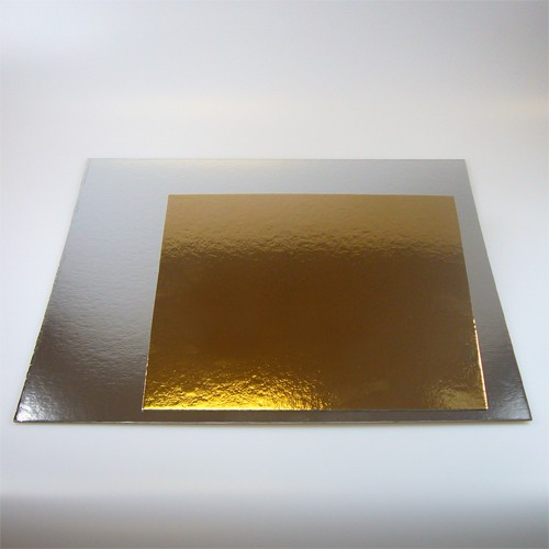 FunCakes Tortenunterlage eckig gold/silber 3er Pack - 25cm