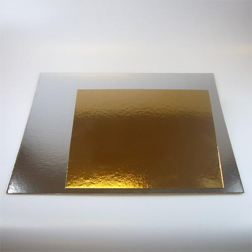 FunCakes Tortenunterlage eckig gold/silber 3er Pack - 20cm