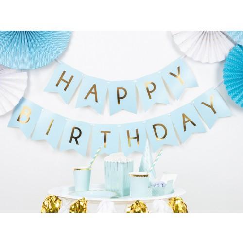 Banner Happy Birthday blau
