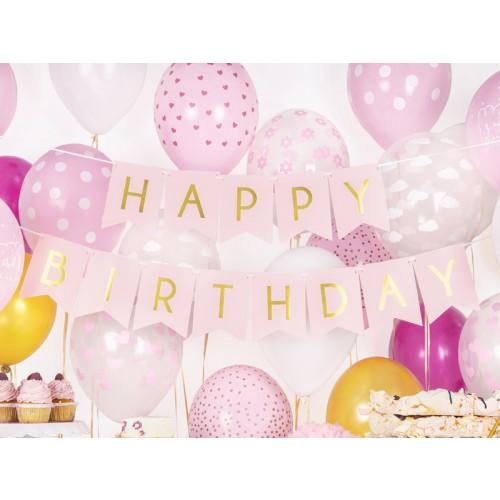 Banner Happy Birthday rosa
