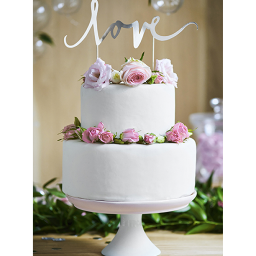 PartyDeco Topper Love silber