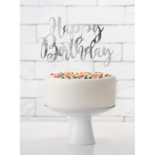 PartyDeco Topper Happy Birthday silber